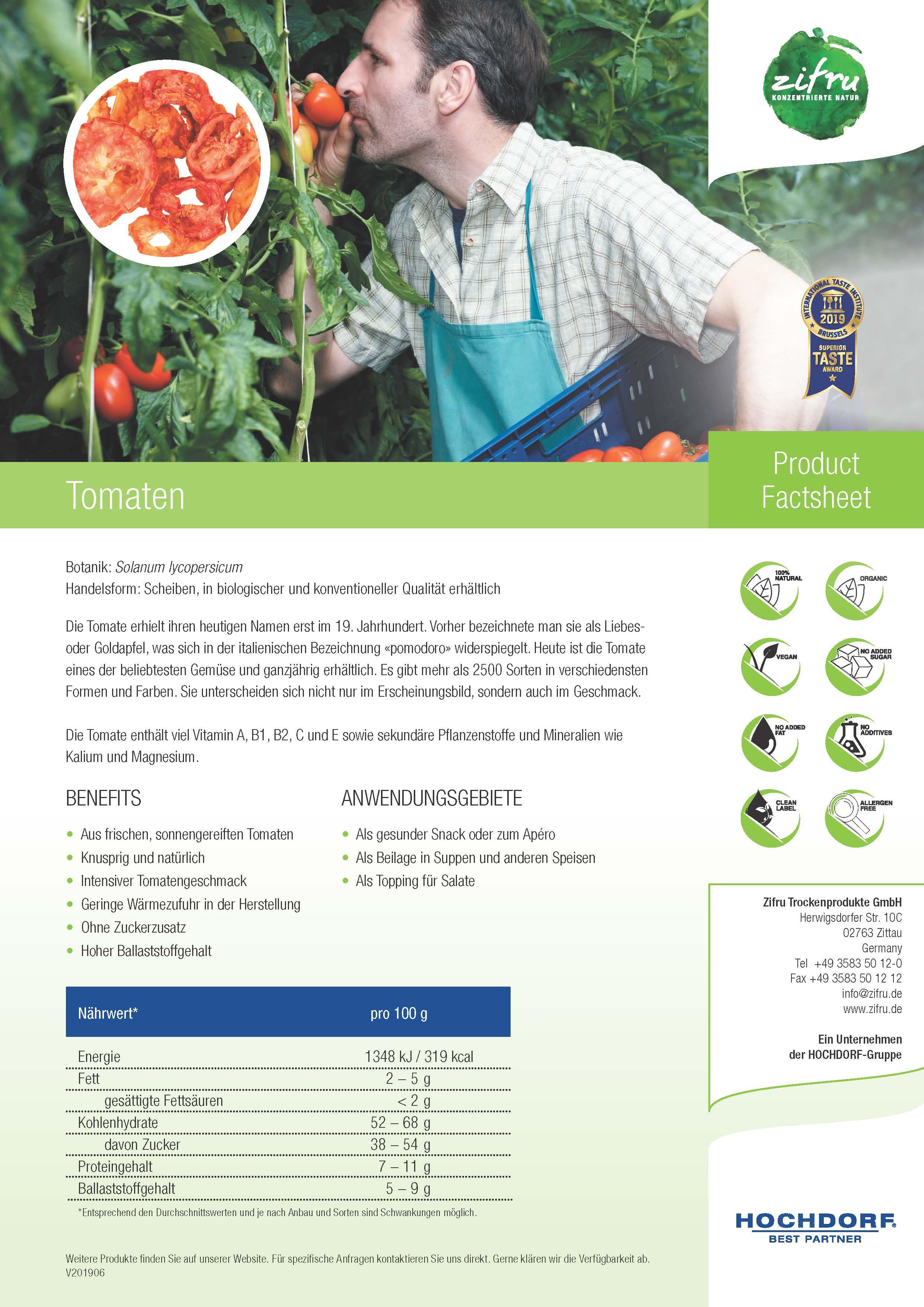 Product Factsheet getrocknete Tomaten von HOCHDORF